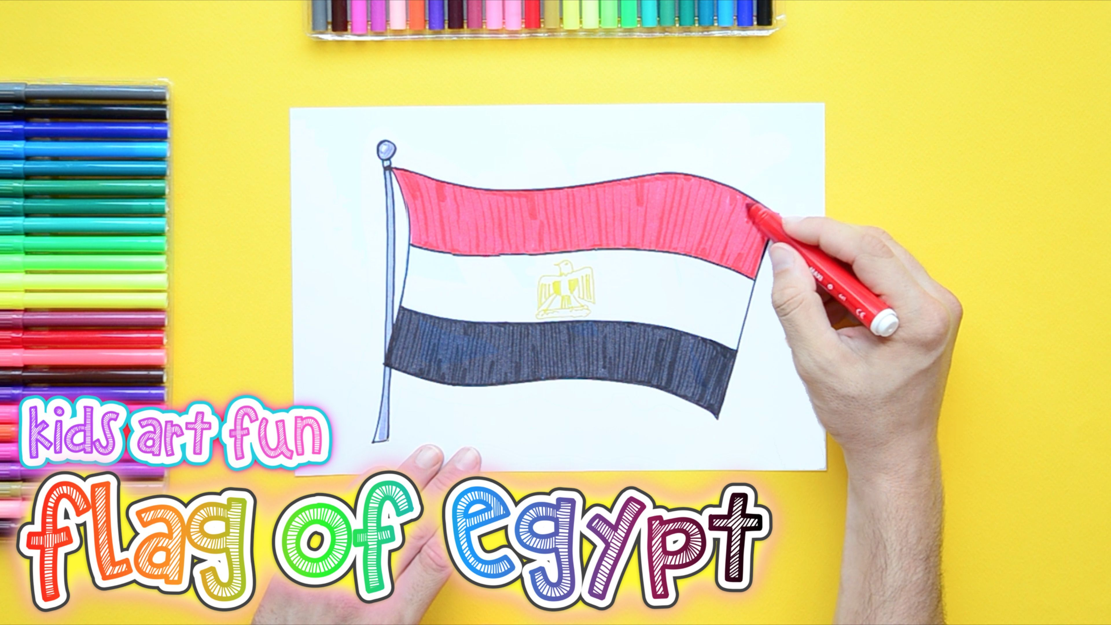 How To Draw And Color The Flag Of Egypt Flag Drawing Egypt Flag National Flag