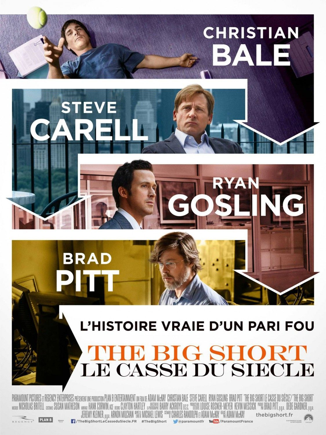 The Big Short (2015)...Great movie, should get an Academy Award nomination for both the screenplay and for the performances. Scary to see the downward spiral that continues yet doesn't get addressed & dealt with due to corruption and thirst for power.