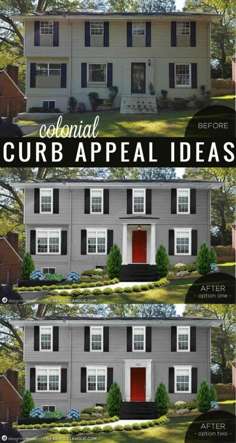 Remodelaholic Real Life Rooms Adding Colonial Curb Appeal Colonial House Exteriors Colonial Exterior Colonial Style Homes
