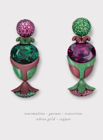 hemmerle Earrings, Purple and Green