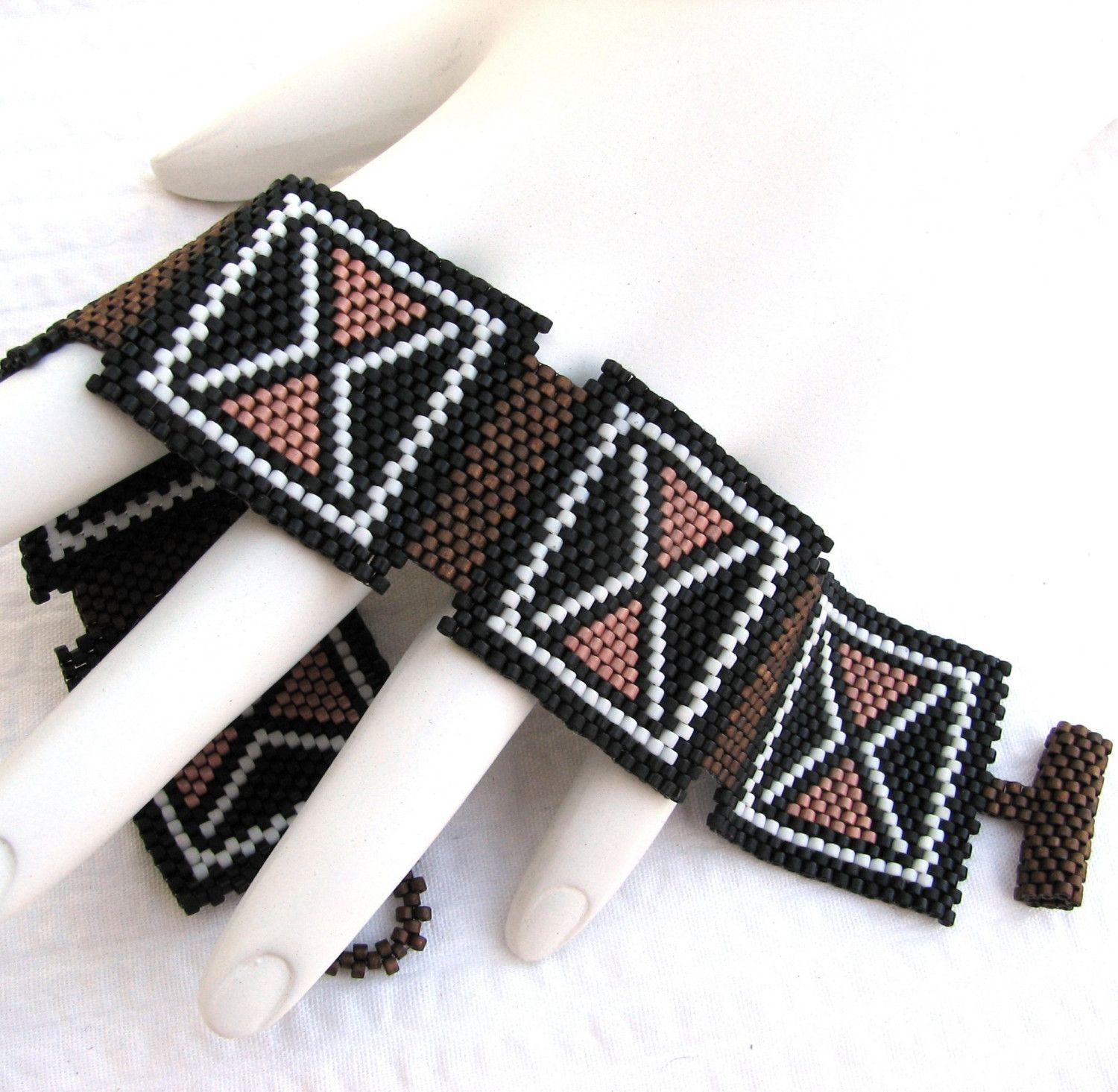 African Mudcloth Inspired Peyote Cuff II 2387 A by SandFibers