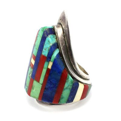 Charles-Loloma-Signed-Sterling-Silver-Hopi-Shield-with-Turquoise-and-Lapis-Inlay