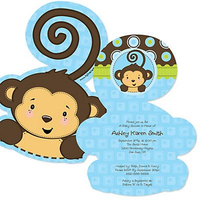monkey boy  shaped baby shower invitations  bigdotofhappiness, Baby shower