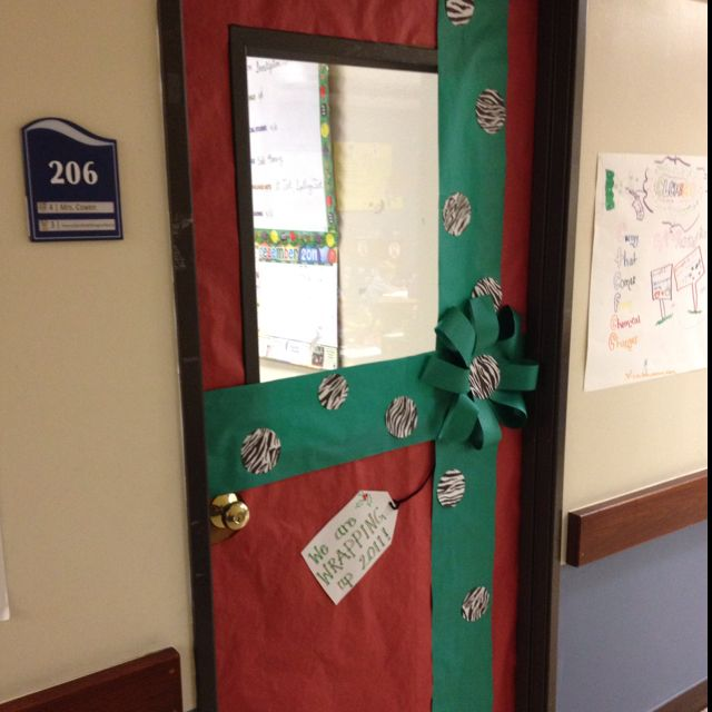 Classroom door decorated like a present