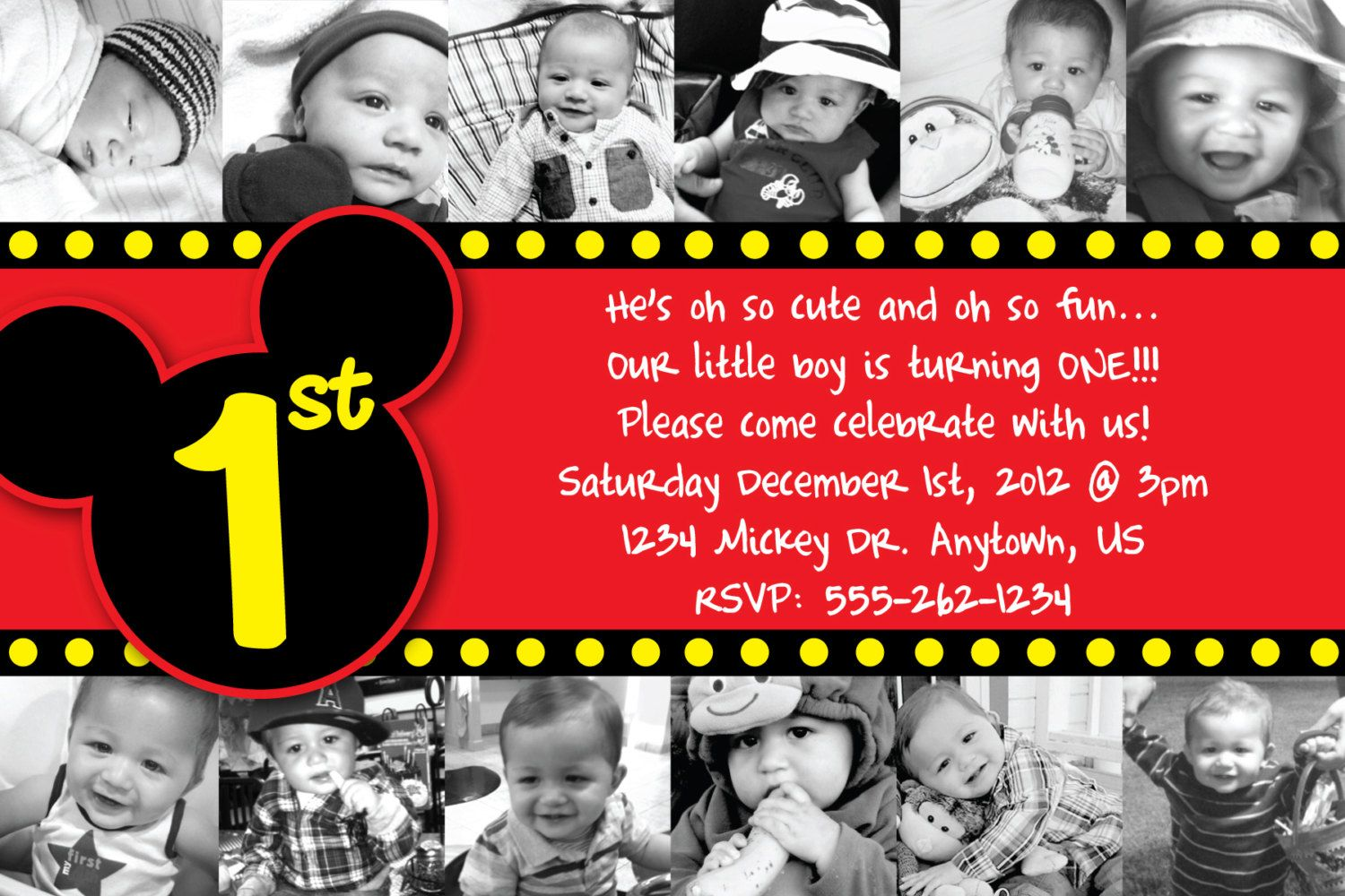 Custom Mickey Mouse Invitation OR Thank You Card 12 months of photos ...