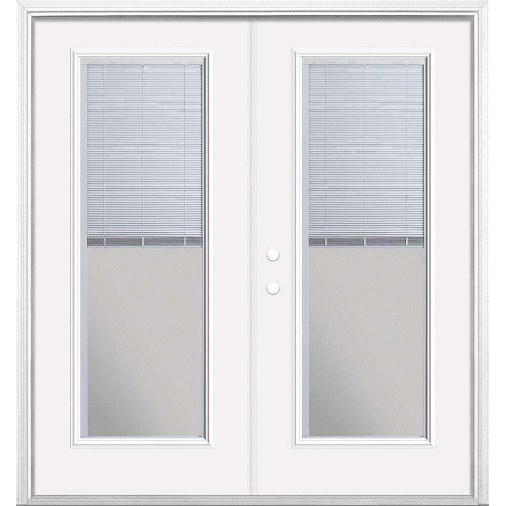 Masonite 72 In X 80 In Primed White Steel Prehung Right Hand Inswing Mini Blind Patio Door In Vinyl Frame With Brickmold Vinyl Frames Patio Doors Mini Blinds