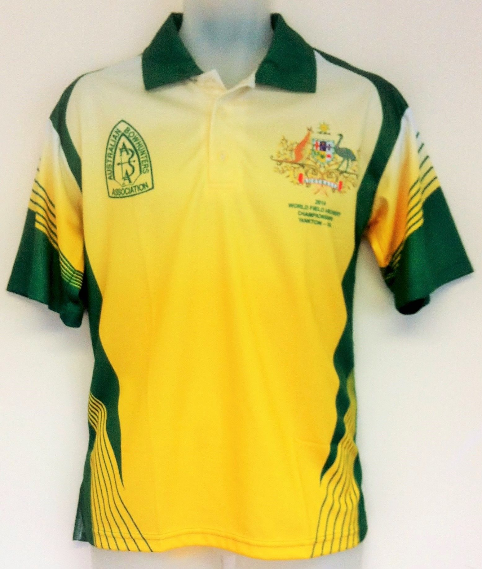 Design t shirt netball - Here Is A Yellow And Green Sublimated Polo Shirt Designed For The Australian Bow Hunters Association