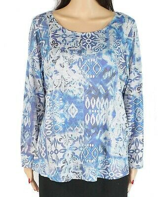 Style & Co Women's Knit Top Blue Size 0X Plus Printed Embellished $44 #035 #fashion #clothing #shoes #accessories #women #womensclothing (ebay link)
