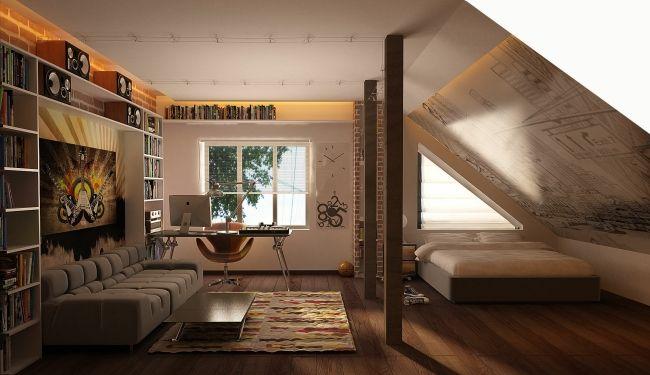 ideen jugendzimmer dachschräge junge beige einbauleuchten, Schlafzimmer