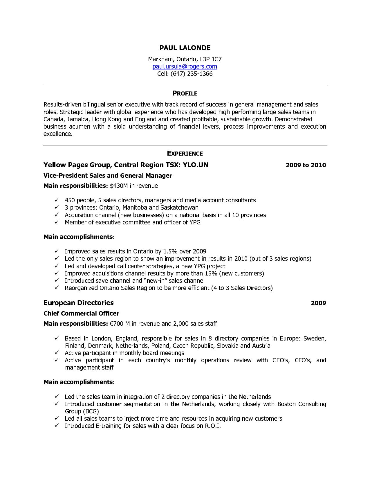 format of cv in canada