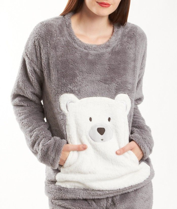 Pyjama 2 Pieces Ours Toucher Peluche Teddy Bear Gris Etam