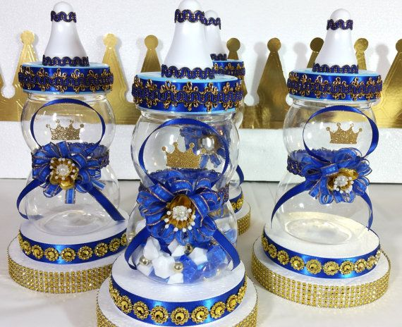 Royal Prince Baby Shower Centerpiece Boys Royal Blue And Gold Baby