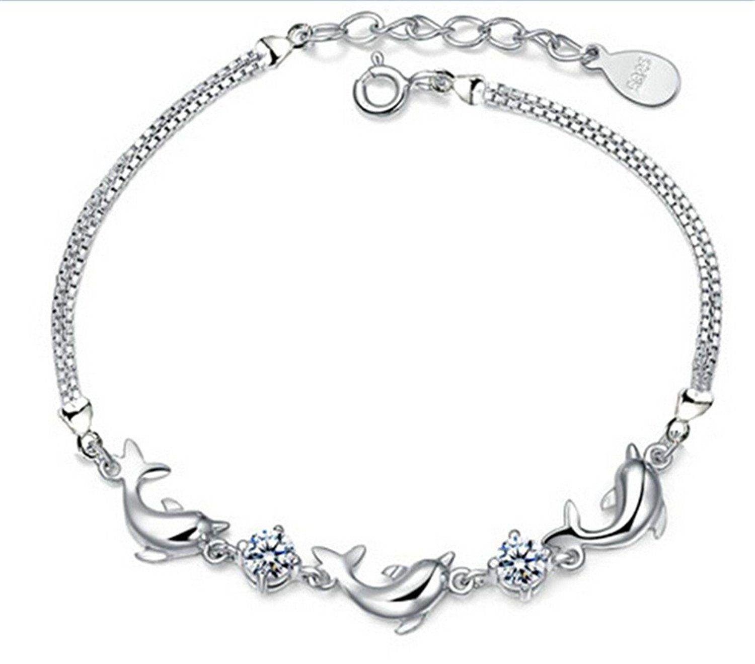 Womenus and girlsu charm bracelet sterling silver and zirconium