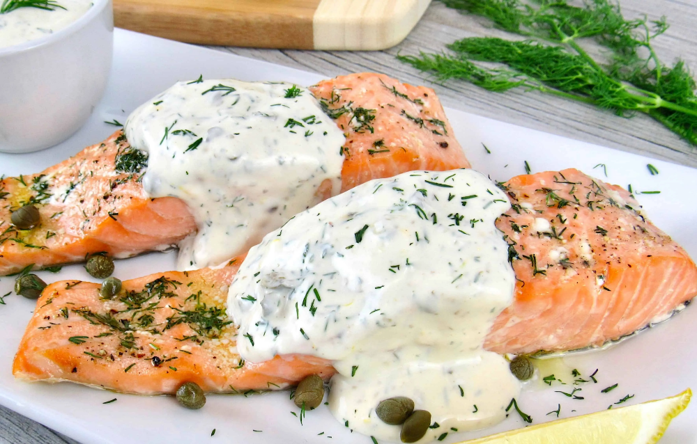 Baked Salmon With Creamy Dill Sauce Keto And Low Carb Recipe In 2020 Dill Sauce Salmon Recipes Creamy Dill Sauce