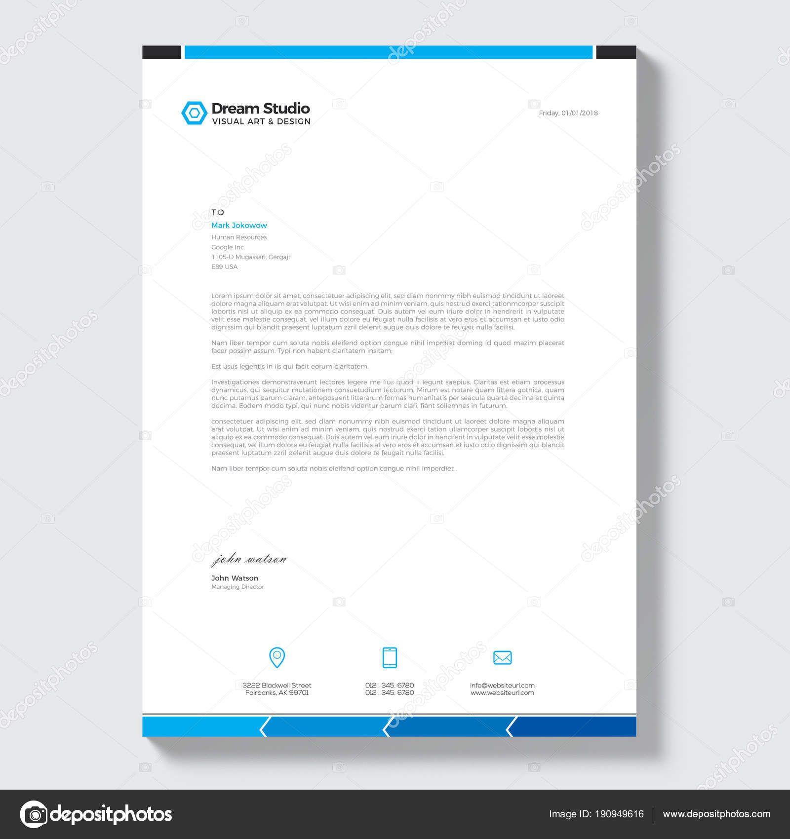 Download Modern Letterhead Vector Design Template Stock