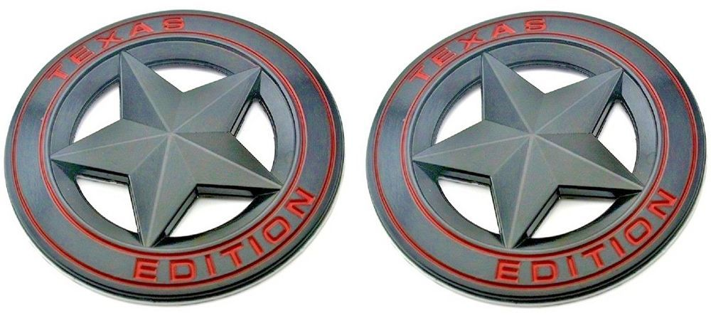 (Set of TWO) Texas Edition Star BLACK and Red Round 3