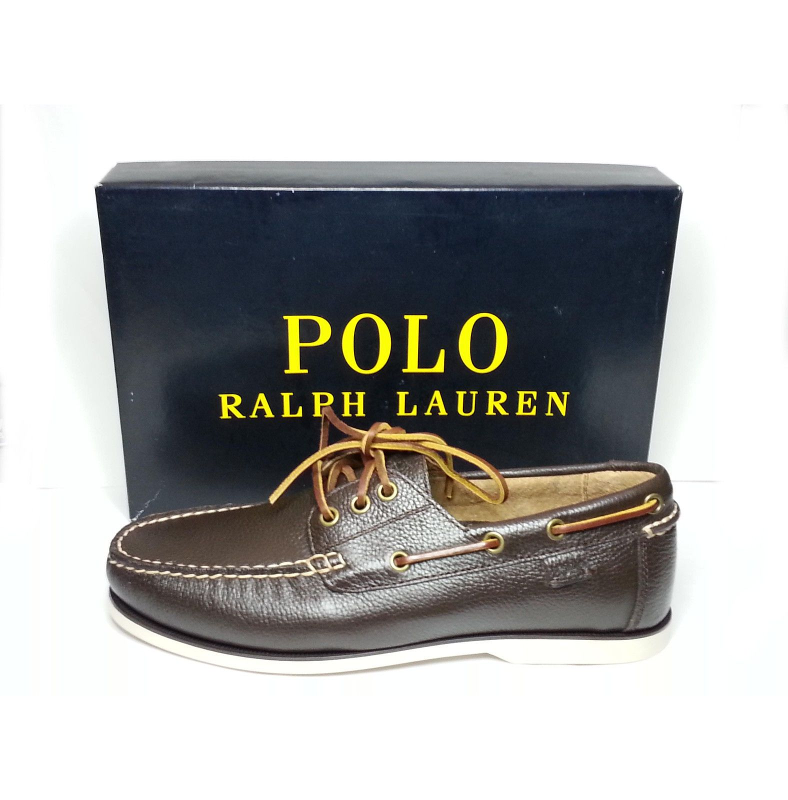 #shoes boots sneakers sandals men POLO Ralph Lauren BIENNE II DARK BROWN boat  shoes size