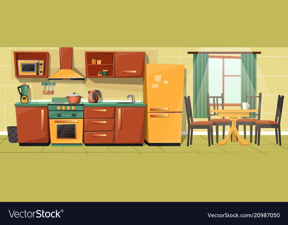 Vector Cartoon Interior Of Family Kitchen Counter With Appliances Furniture Household Objects Cooking Kitchen Images Kitchen Cartoon Blue Kitchen Designs