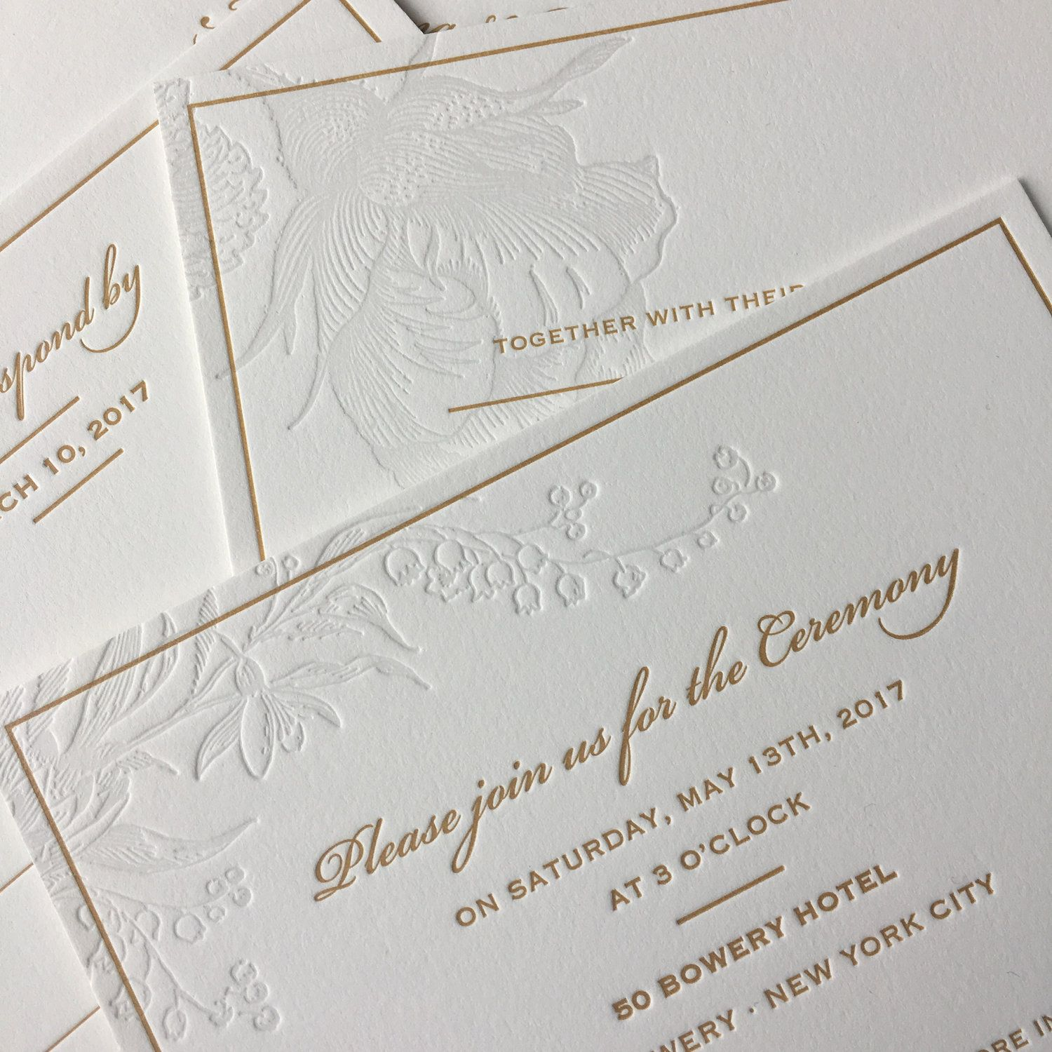 Pale Floral and Gold Wedding | Embossed wedding invitations ...