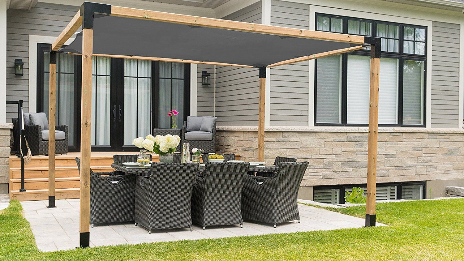 Pergola Kit Easy Assembly Pergola With Shade Sail 10x10 Matt Black Modern Design Unique Sand Textured Ful Outdoor Pergola Building A Pergola Pergola Plans