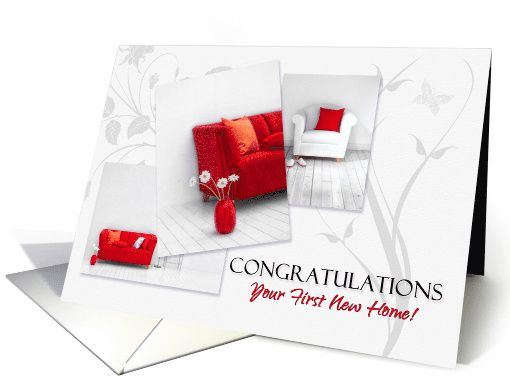 1st New Home Congratulations in Modern Red and White card - 25 on their way to Florida.