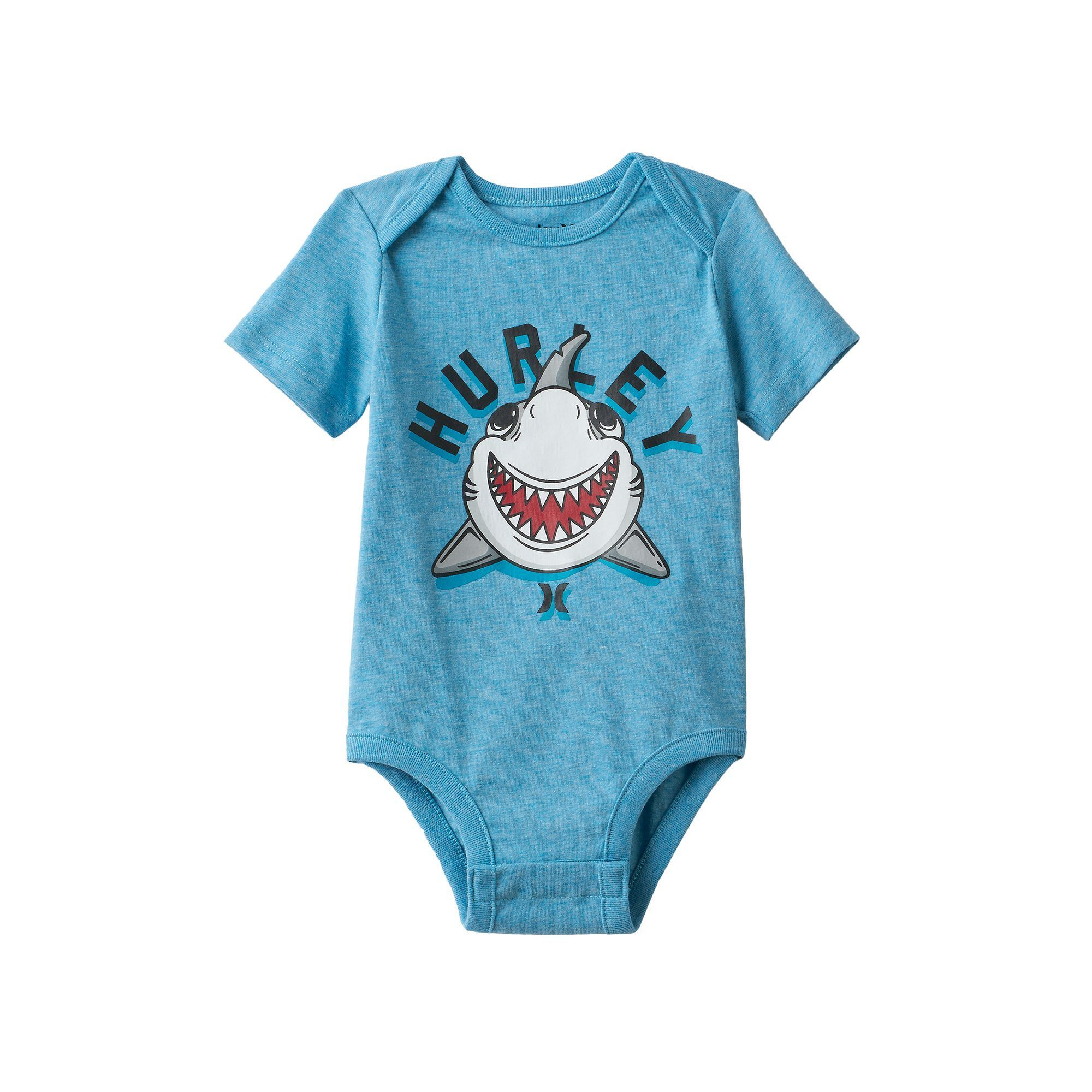 Baby Boy Hurley Shark Graphic Bodysuit Size 9 12MONTHS Turquoise