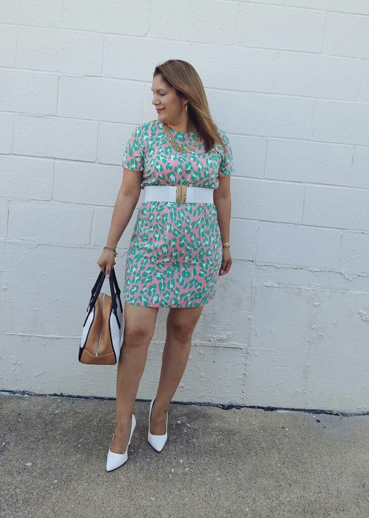 Asos pastel leopard print shift dress  Ralph Lauren belt  Charlotte Russe pumps