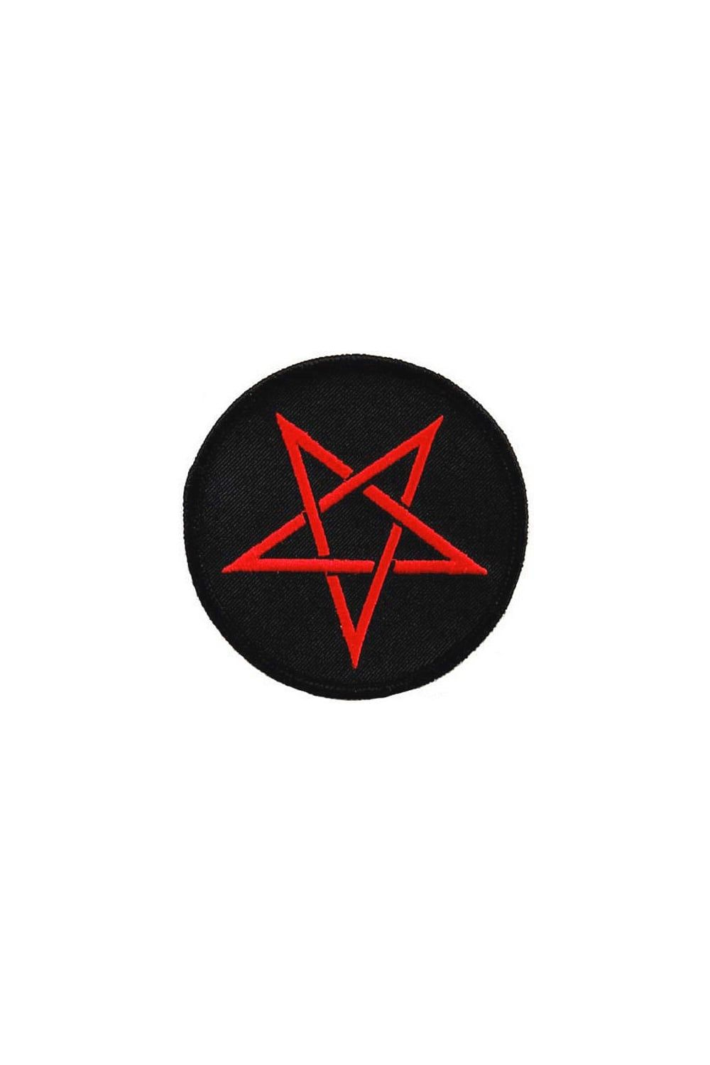 RED PENTAGRAM EMBROIDERED PATCH Wicca Witchcraft DEVIL IRON-ON BLACK RED SATANIC