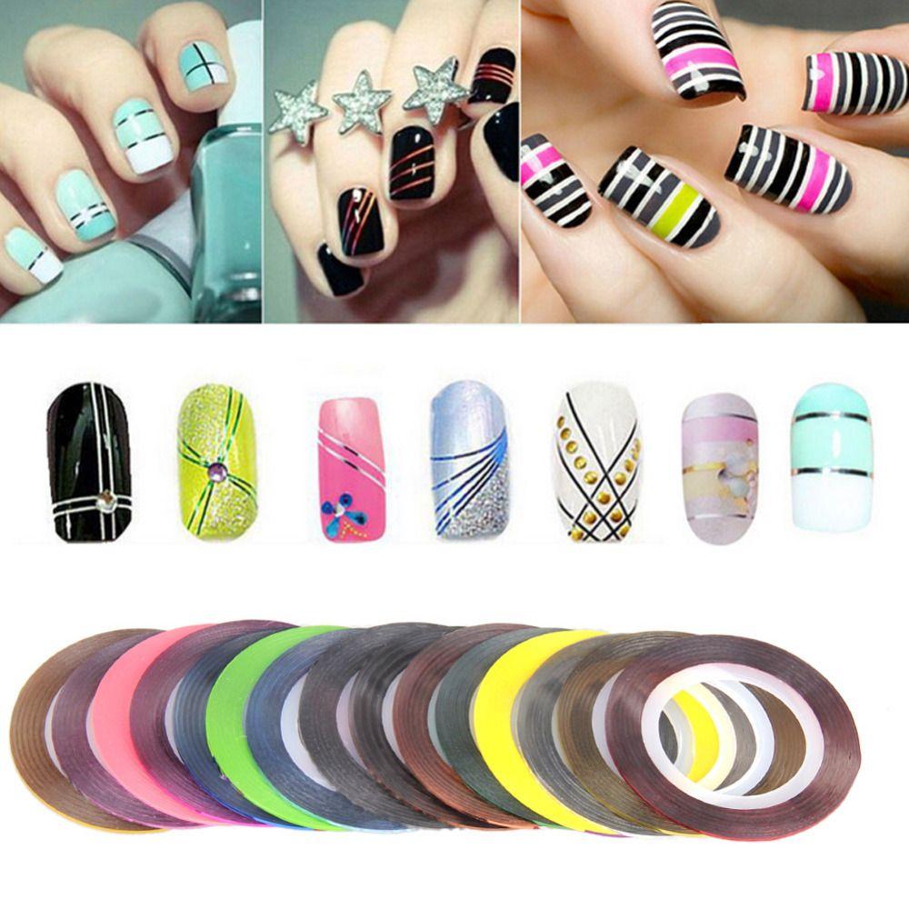 30 Pz Rotoli Di Nastri Striping Colorato Linea Di Adesivi Per Unghie Nail Art Fai Da Te Manicaure Decorazioni Di Bellezza Nail Art Diy Lines On Nails Diy Nails