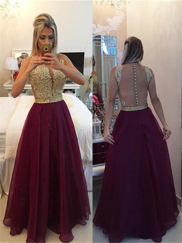 34db8d038700b Round Neck Sleeveless Prom Dress with Golden Top and Burgundy Skirt, Formal  Dress #maroon #backless #prom #promdress #prom2018