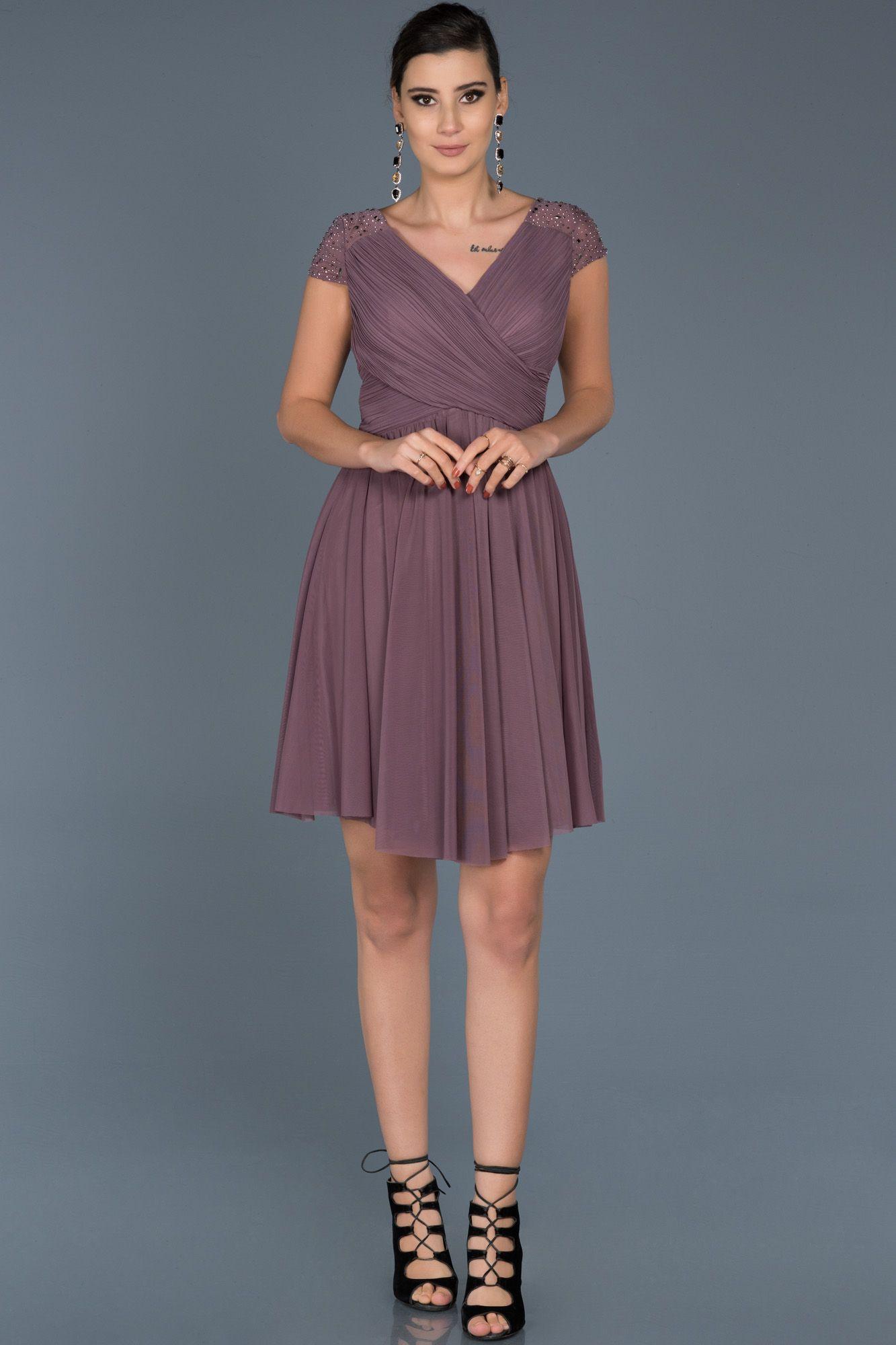 Lavanta V Yaka Sifon Elbise Abk306 2020 The Dress Resmi Elbise Kisa Elbiseler