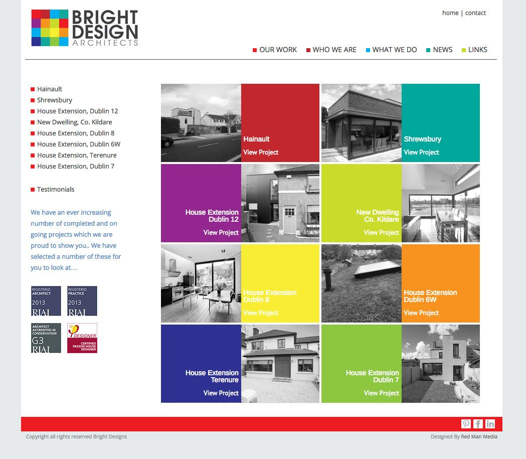Web design bright design architects are based in dublin for Architecture design websites free