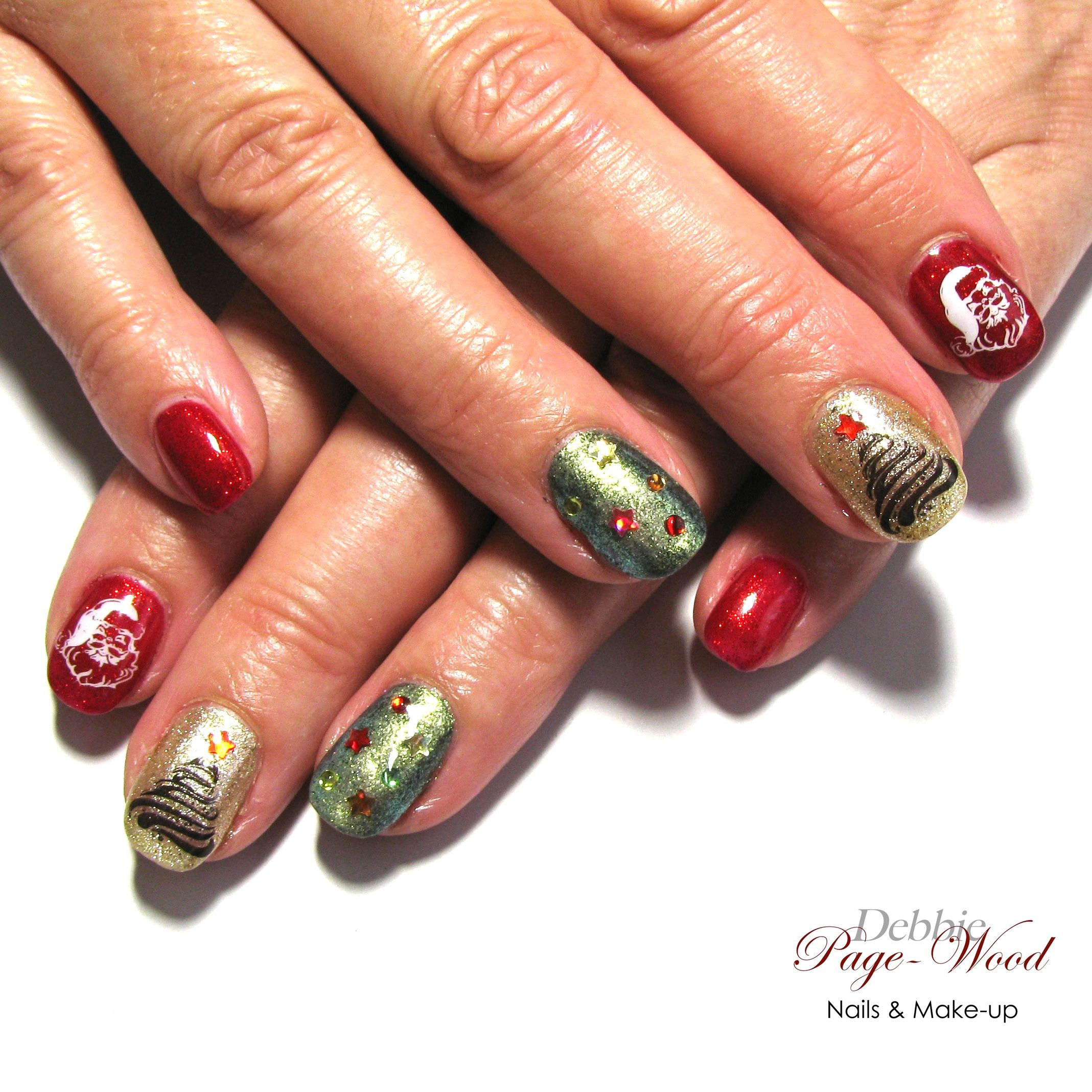 Christmas manicure with sparkly red, gold and green decorated with ...