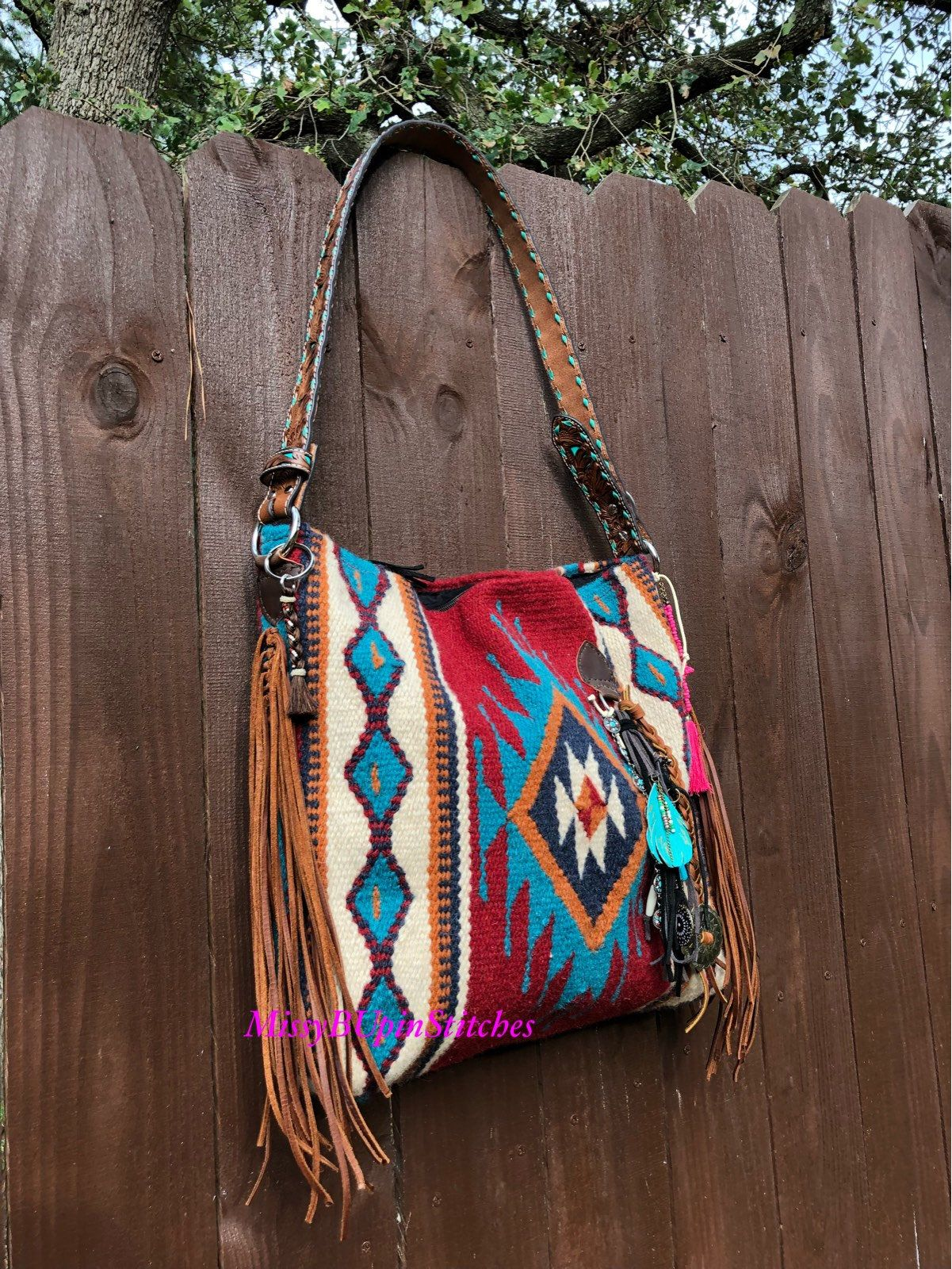 Winter Horse Blankets >> Red and Turquoise Saddle blanket bag, Western tote, Navajo blanket tote, Leather Fringe, Leather ...