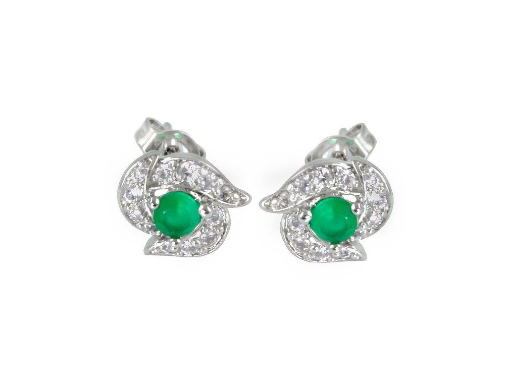 EMERALD LOOK STONE & CZ WHITE GOLD PLATED EARRINGS FASHION JEWELRY 10223ES