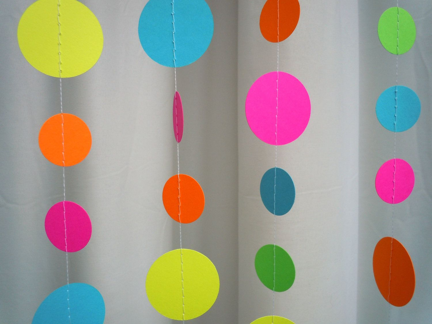 Classroom Decoration Hangings ~ Neon paper circle garland circles and