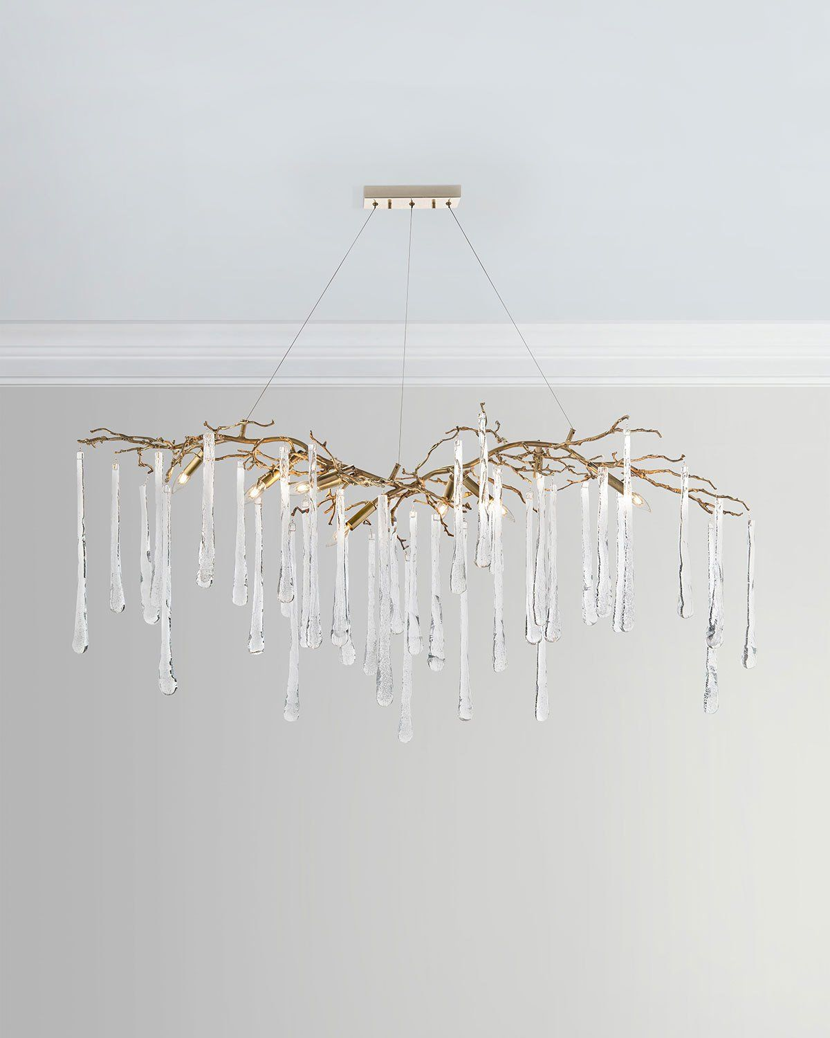 Brass Glass Teardrop Chandelier