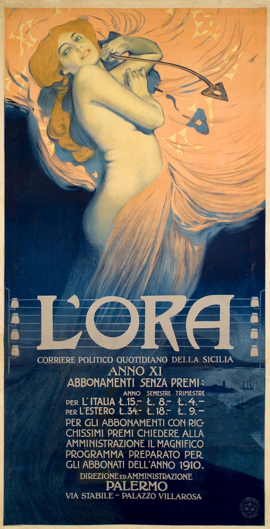 Leopoldo Metlicovitz L Ora Palermo 1909 Collezione Alessandro Bellenda Galleria L Image Alassio Sv Belle Epoque Poster Ads Beautiful Book Covers