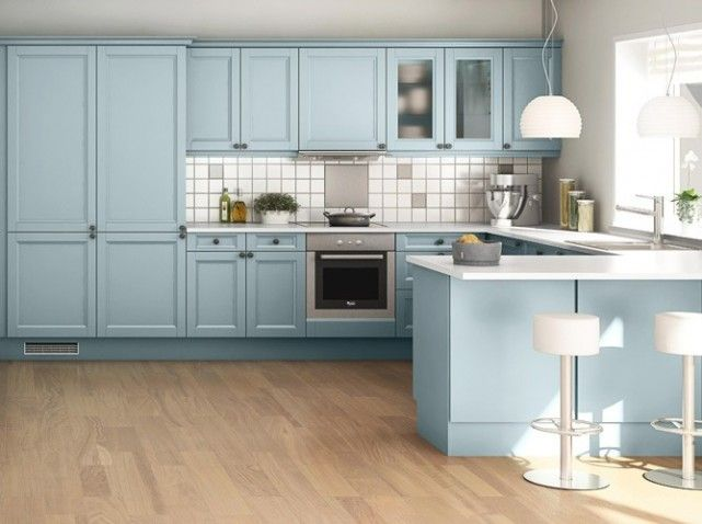 cuisine bleu ciel new appart pinterest cuisine