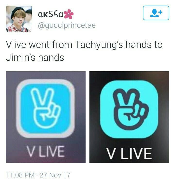 Vlive logo from taehyungs hand to jimins hand bts pinterest vlive logo from taehyungs hand to jimins hand stopboris Images