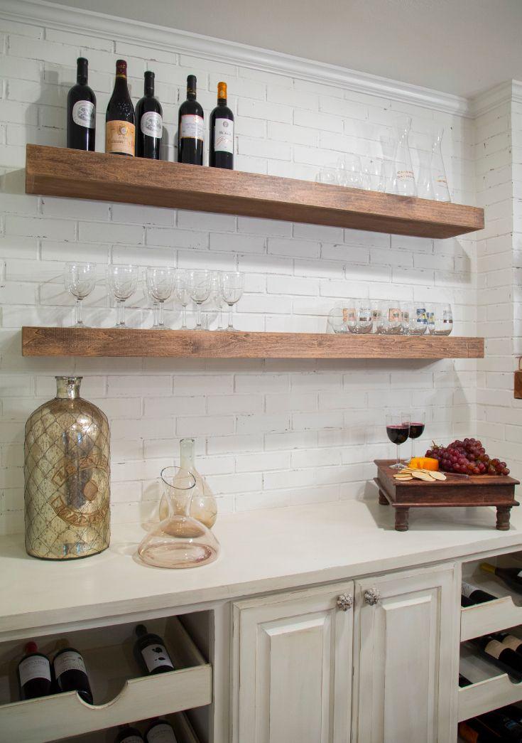 Glass Floating Shelves Kitchen
