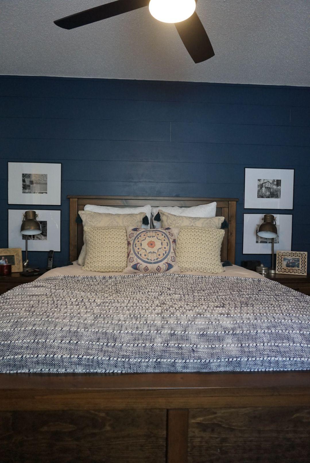 Master Bedroom Reno Shiplap Accent Wall Dark Blue Bedrooms