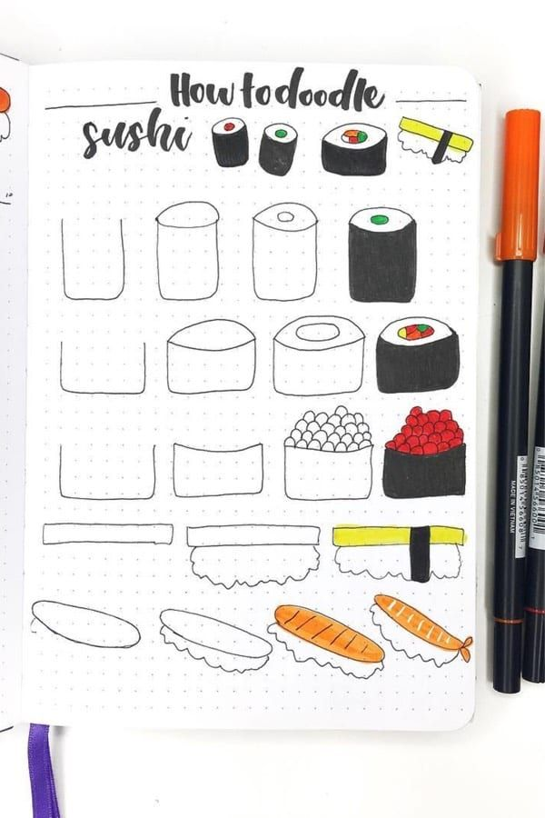 25+ Best Step By Step Food Doodles For Your Bujo - Crazy Laura