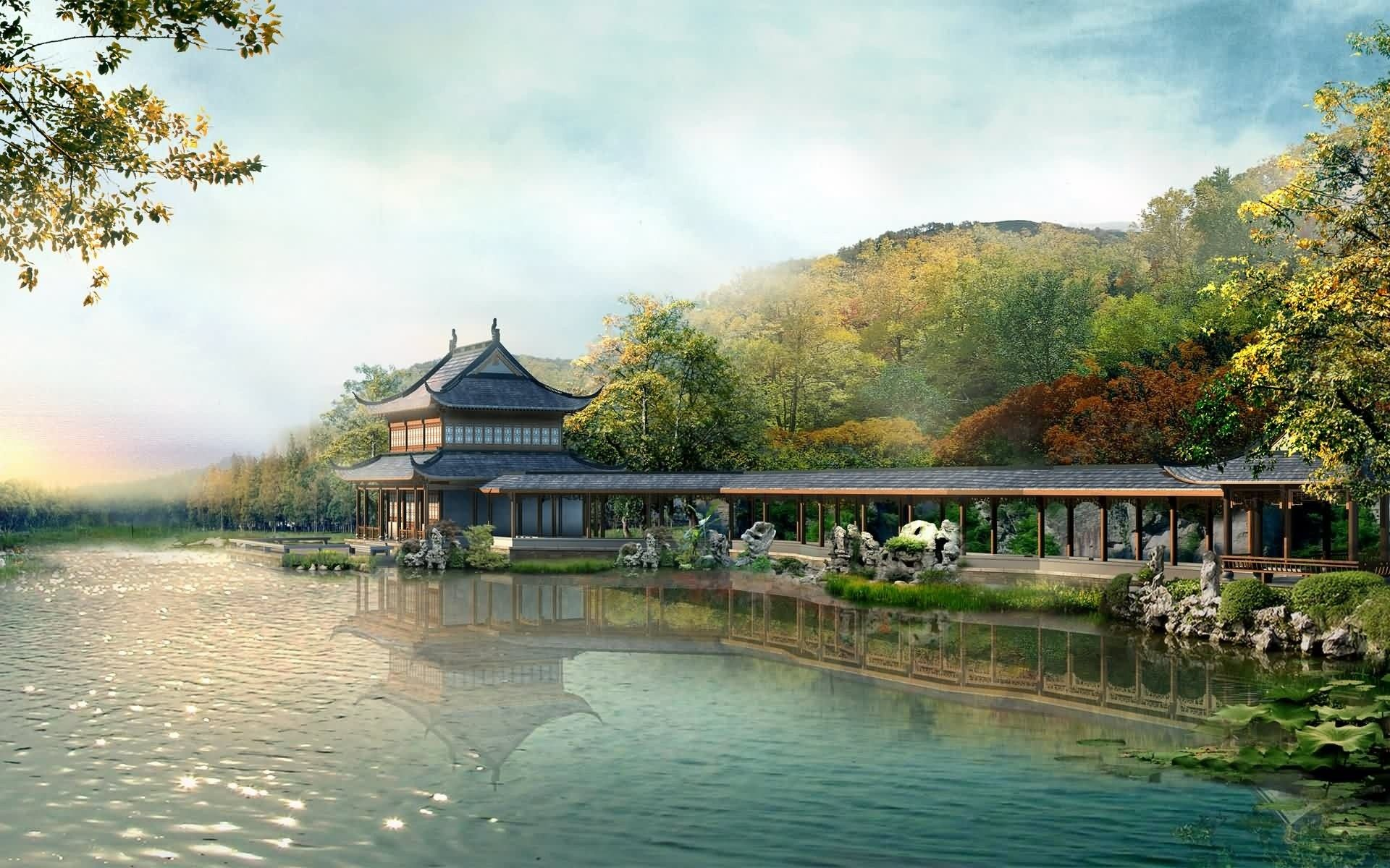 High Definition Japanese Village Wallpaper Chinesische Landschaft Hintergrund Landschaft Naturfotografie