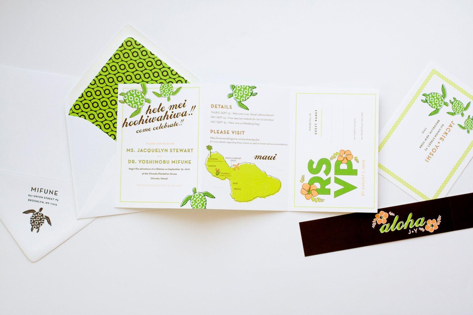 Hawaiian themed wedding invitation suite. MaeMar Paperie: Aloha ...