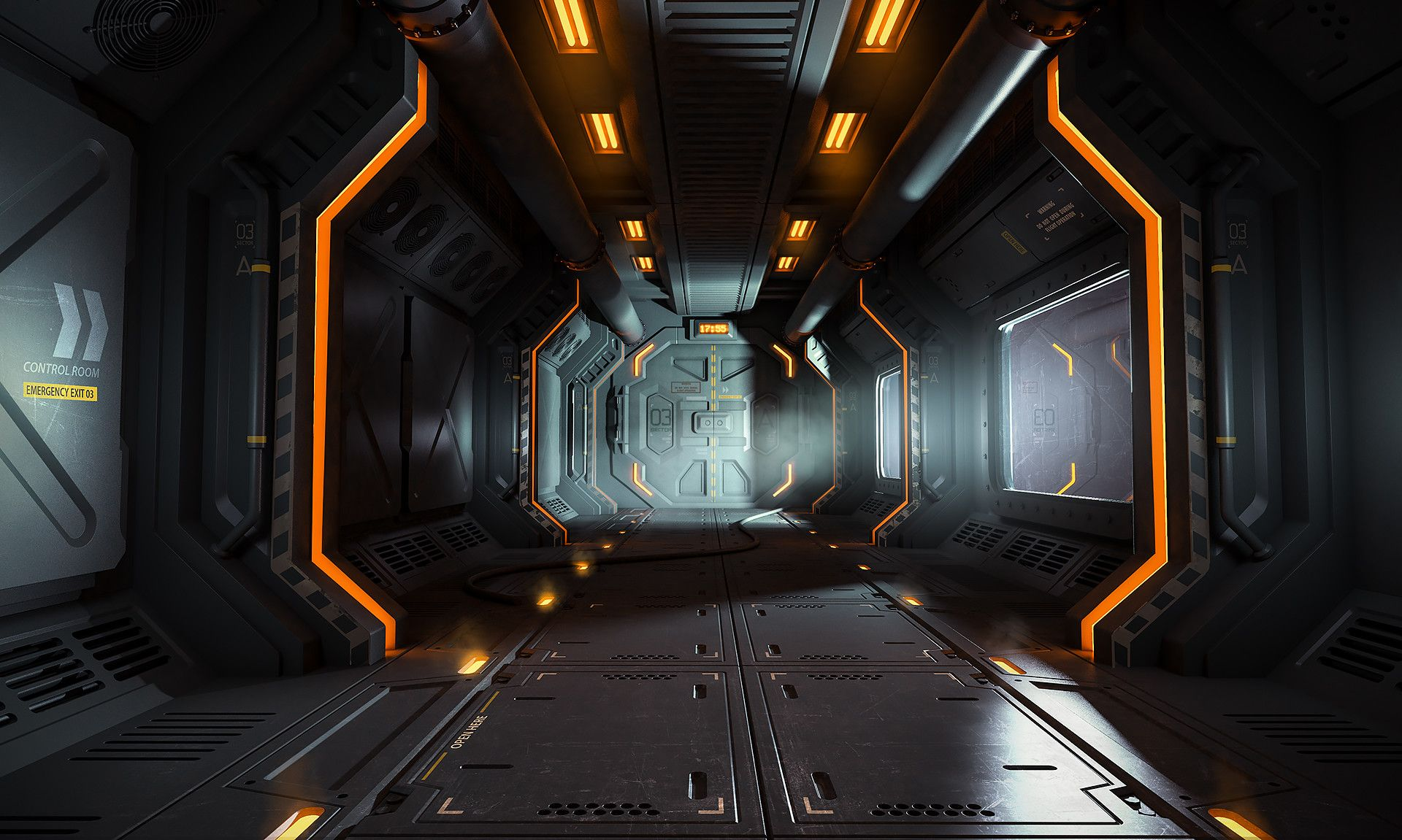 Artstation Space Station Bay Evgeny Kashin Cyberpunk