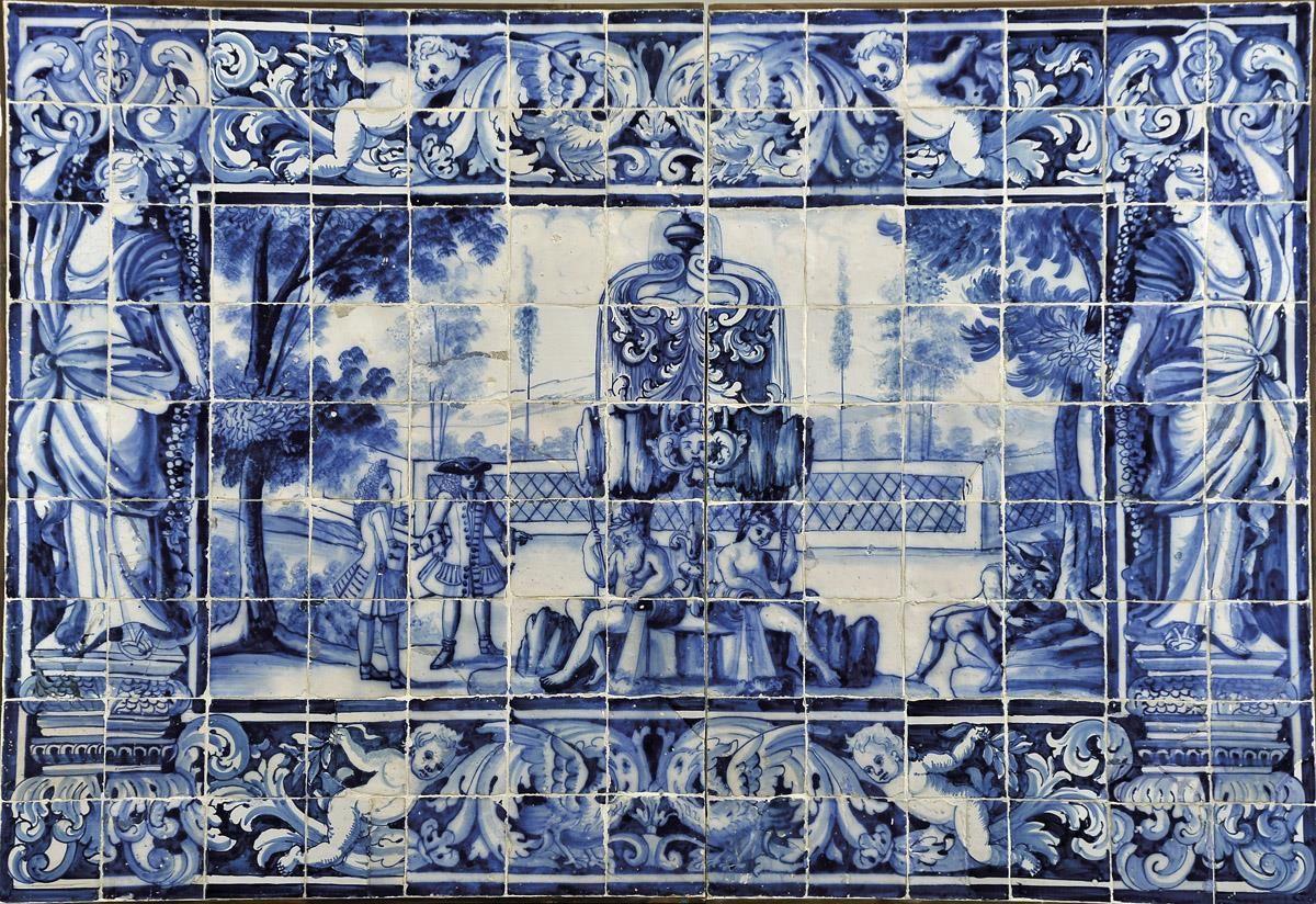 Painel de cento e dezassete azulejos portugu s decora o a for Azulejo azul