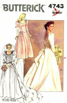 Butterick 4743 Sewing Pattern Misses Wedding Brides Bridal Dress Gown Size 8 - 10 - 12