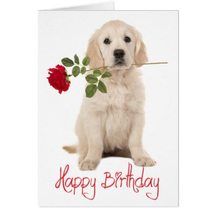 Happy Birthday Golden Retriever Puppy Dog Card Zazzle Com With