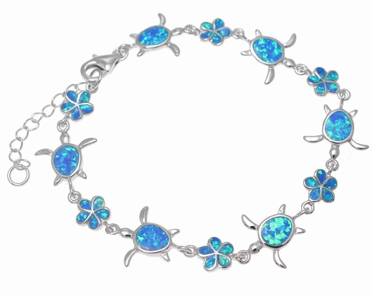 Sterling Silver Synthetic Opal Tortoise Necklace for Women Hand Inlay /& CZ Stones 1 inch